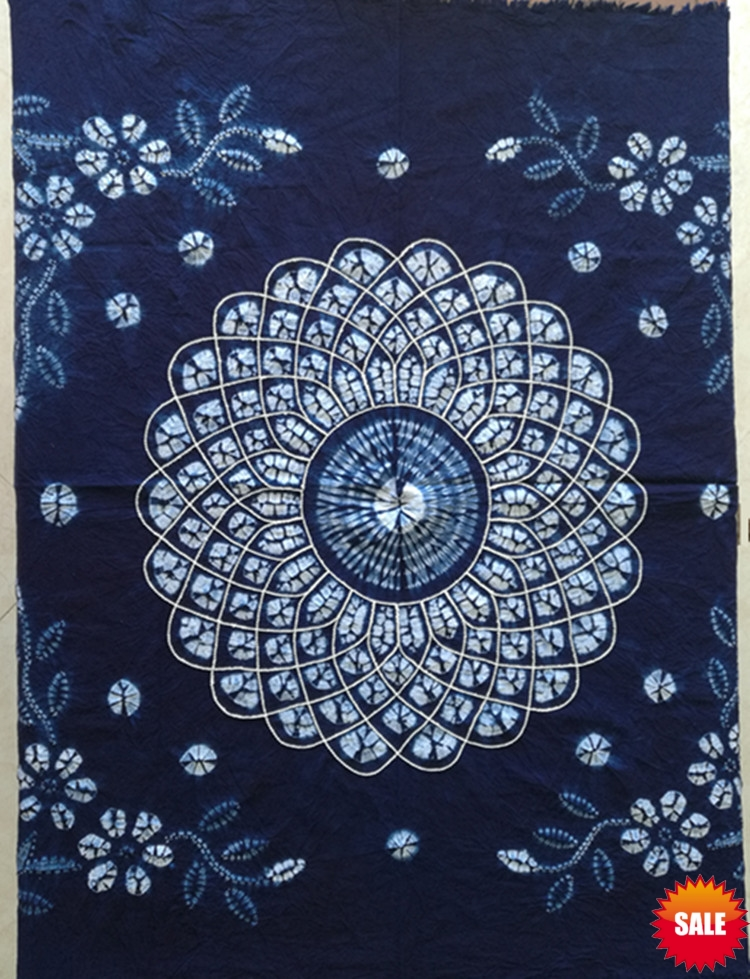 US $20 92 16% OFF Japanese Bandhani Tie dye traditional blue flower  Painting / Handmade Shibori Square Table Cloth / Many Uses Mats pads  Cover-in
