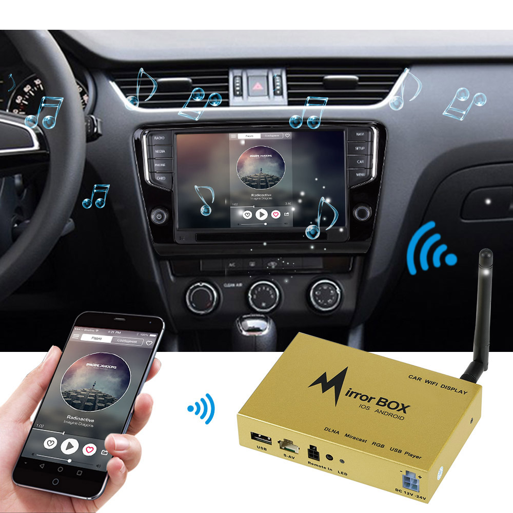Car Wifi Mirror Box for IOS Android Mobile Phone GPS Navigation to LCD Monitors Universal A/V Mirror Converter Airplay Miracast new car wi fi mirrorlink box for ios10 iphone android miracast airplay screen mirroring dlna cvbs hdmi mirror link wifi mirabox