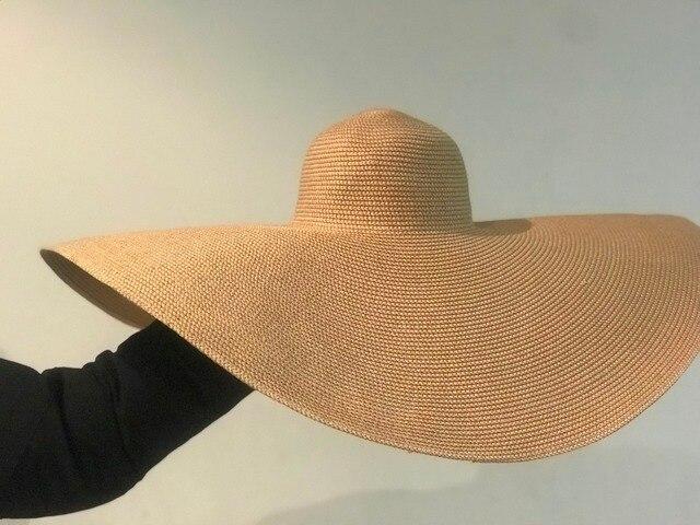 01812-shi new desige summer handmade 25cm big wind brim straw paper sun  cap men women leisure holiday beach  hat