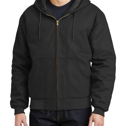 CornerStone J763H Mens Duck Cloth Hooded Work Jacket Black - Extra Small
