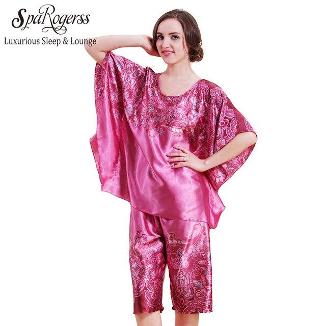 2018 Top Fashion Pyjamas For Women Big Size Women Pajamas Satin Pijama Bath  Robe Longue 2 piece pajama set YT219 34f7aff0f