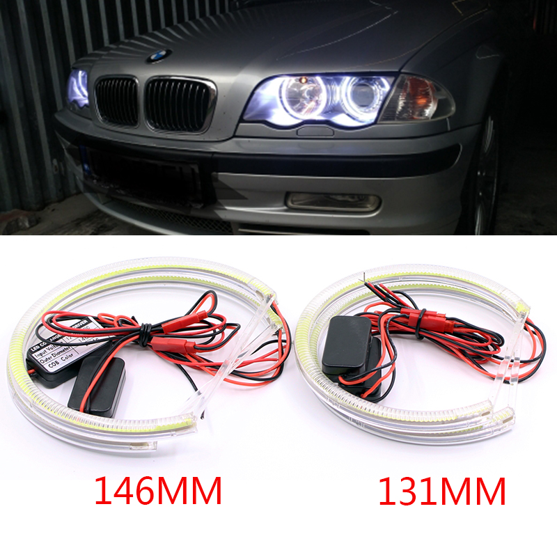 2X131MM 2X146MM HID Style COB LED Angel Eyes Halo Rings Kit for BMW E46 Halogen Non