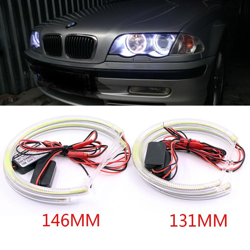 2X131 MM + 2X146 MM HID Style COB LED ange yeux Halo anneaux Kit pour BMW E46 halogène Non projecteur phare