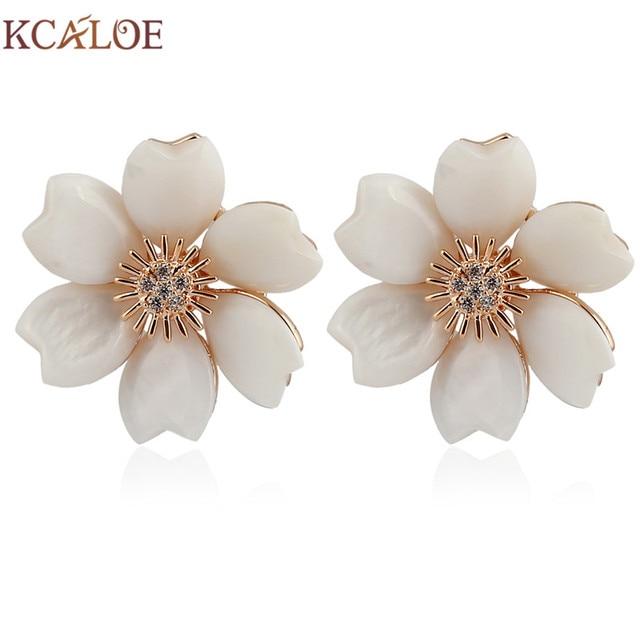 Kcaloe Natural S Flowers Stud Earrings Fashion Rose Gold Color Crystal Rhinestone Wedding Bride Earring