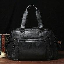 Top Quality Casual Travel Duffel Bag PU Leather Men Handbags Big Large Capacity Travel Bags Black Mens Messenger Bag Tote недорого