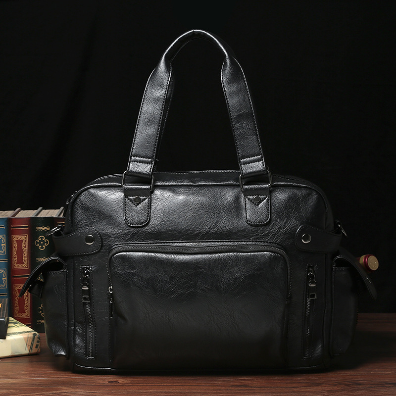 Top Quality Casual Travel Duffel Bag PU Leather Men Handbags Big Large Capacity Travel Bags Black Mens Messenger Bag Tote