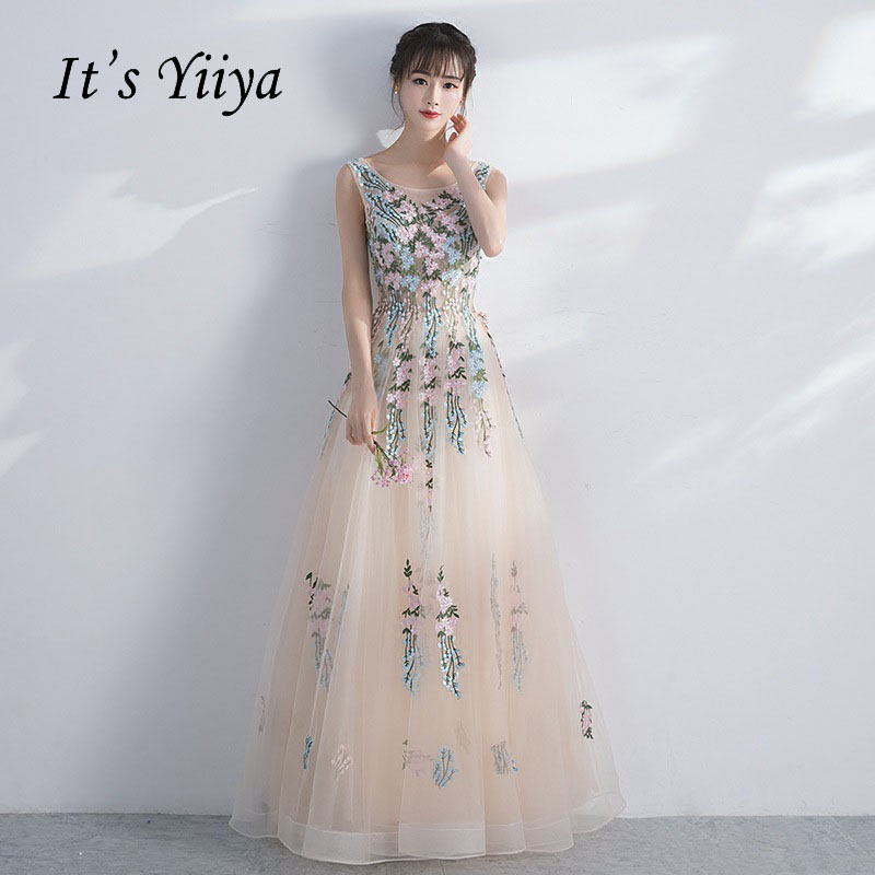 It's Yiiya Sleeveless Floral Illusion Print Lace Up A-line Elegant   Evening     Dresses   Floor Length Party Gown   Evening   Gowns LX037
