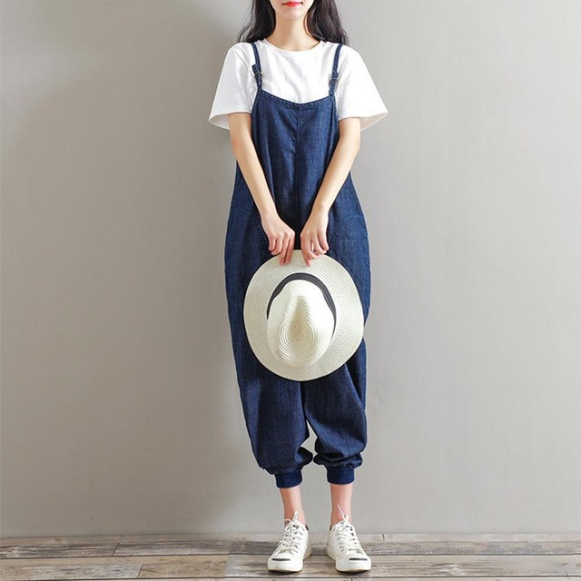 e3b9e66fed50 Plus Size 2018 Rompers Womens Jumpsuits Casual Loose Herem Sleeveless  Backless Solid Pockets Retro Overalls Strapless