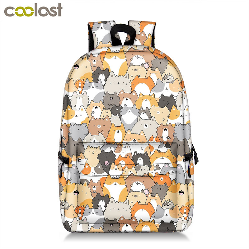 Cute Kitten Cats Backpack For Teenager Girls Women Causal Bag Children School Backpack Book Bag Kids Student School Bags Gift nohoo waterproof cute cats animals baby backpack kids toddler school bags for girls children school bags kids kindergarten bag