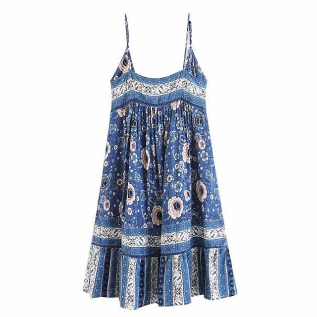 a4973df9a98d Bohemia Location Blue Floral print Sling Swing Dress Holiday Beach 2018  Woman Ethnic Backless Loose Knee-Length Summer Dresses