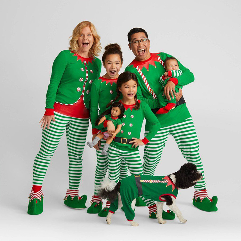 Christmas Family Matching Striped Pajamas Set Mom Father Kid Baby Sleepwear  Nightwear New Year s Costumes Xmas Family Clothes 574995014