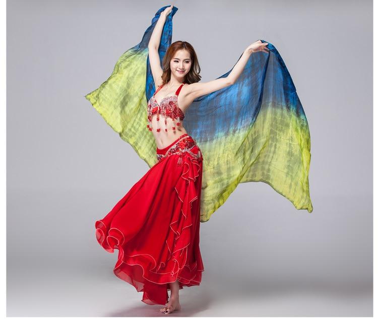 100% Silk Performance Belly Dance Accessories Double Colors Tie Dye Light Texture White Scarf 2.5 Meters Women Silk Veil Dance