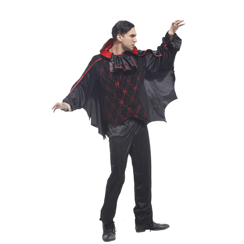 Adult Men Gothic Bat Vampire Costumes Cosplay Halloween Purim Party Carnival Masquerade Mardi Gras Outfit M 0038 in Holidays Costumes from Novelty Special Use
