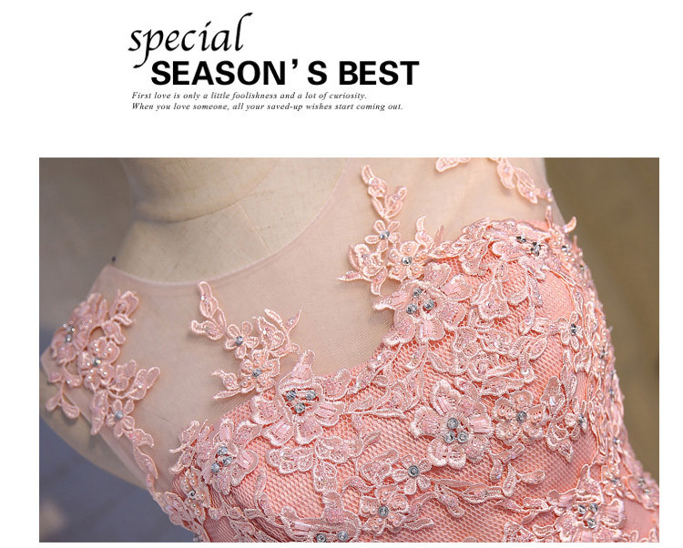 Short Evening Dress 2018 Sweet Pink O-neck Lace Ball Gown New Bride Party Formal Dress Custom Homecoming Dresses Robe De SoireeC 13