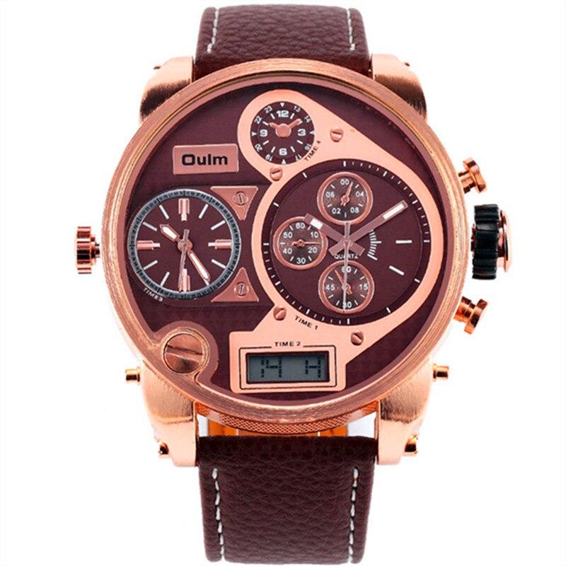 100% QualitäT Marke Oulm Original 9316b Mode 3 Zeit Uhren Herren Analog Digitale Luxus Rose Gold Große Zifferblatt Uhr Montre Homme Luxe Cuir