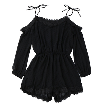 2019 Women Tie Shoulder Lace Trim Rompers Long Sleeves Cut Out Tunic Playsuits Summer Spring Jumpsui