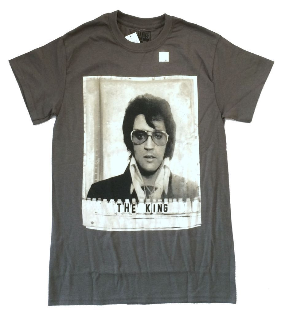 Elvis Presley The King Mug Shot Grey T Shirt New Official Merch NWT Print Tee Men Short Sleeve Clothing TOP TEE