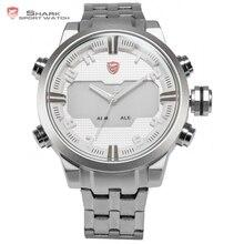 Sawback ángel shark reloj deportivo para hombre digital led backlight venda de acero inoxidable fecha de alarma reloj del cuarzo impermeable/sh202