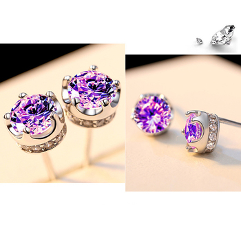 PANSYSEN Natural Purple Amethyst Stud Earrings For Women Real 925 Sterling Silver Crown Crystal Wedding Party Jewelry Earring 1