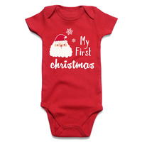 Newborn Baby Bodysuit Blank Red Baby Boy Girl Clothes My First Christmas Printed Short Sleeve Infant