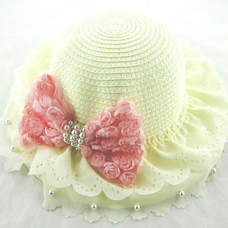 Kinderhuthüte Frühling und Sommermädchenbabyhutperlenbogenblumen - Babykleidung