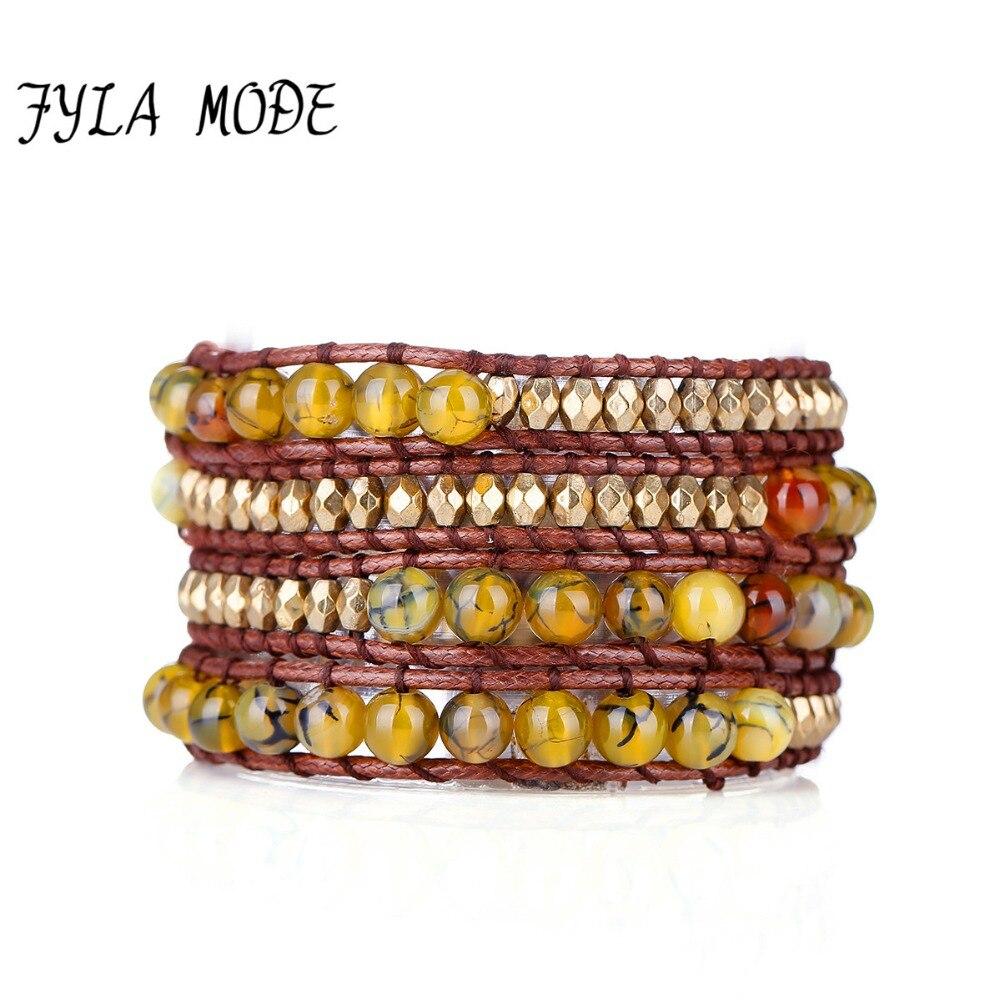 Fyla Mode Bracelet à cordon bohème en pierre rayée Dragon jaune avec perle à facettes sélectionnée Bracelet à 4 perles