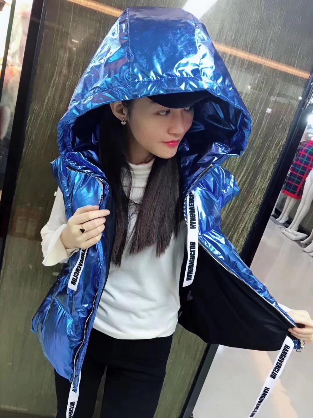 Nouveau Offre Imperméable Couleur Style Bas Métal 2018 Le Meifng Bleu Manteau D'hiver Gilet Vers Spéciale xFUXw
