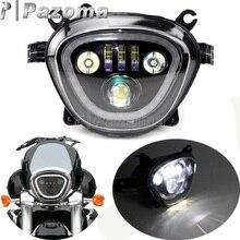Farol de led para motocicleta 6500k 110w, farol de led preto com feixe alto e baixo personalizado para suzuki vibrador m109r vzr1800 m90 2006 2019