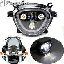 Motorcycle Black LED Headlight 6500K 110W DRL High Low Beam Headlamp Custom For Suzuki Boulevard M109R VZR1800 M90 2006 2019