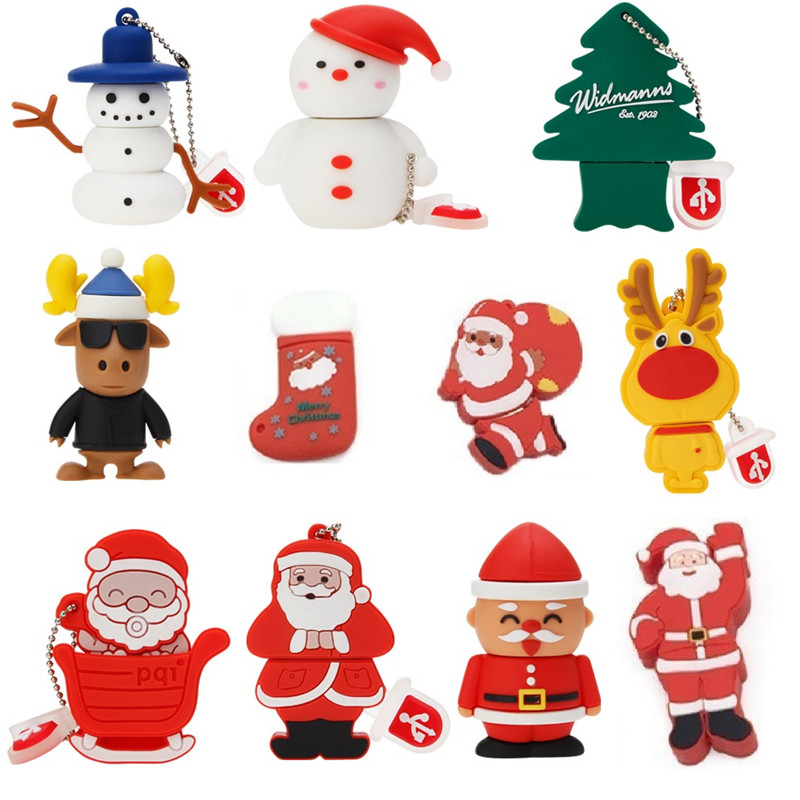 Pendrive 16gb Christmas Tree Usb Flash Drive 64gb Creative Pen Drive 32gb Cartoon Santa Claus Usb Stick Elk U Disk Free Delivery