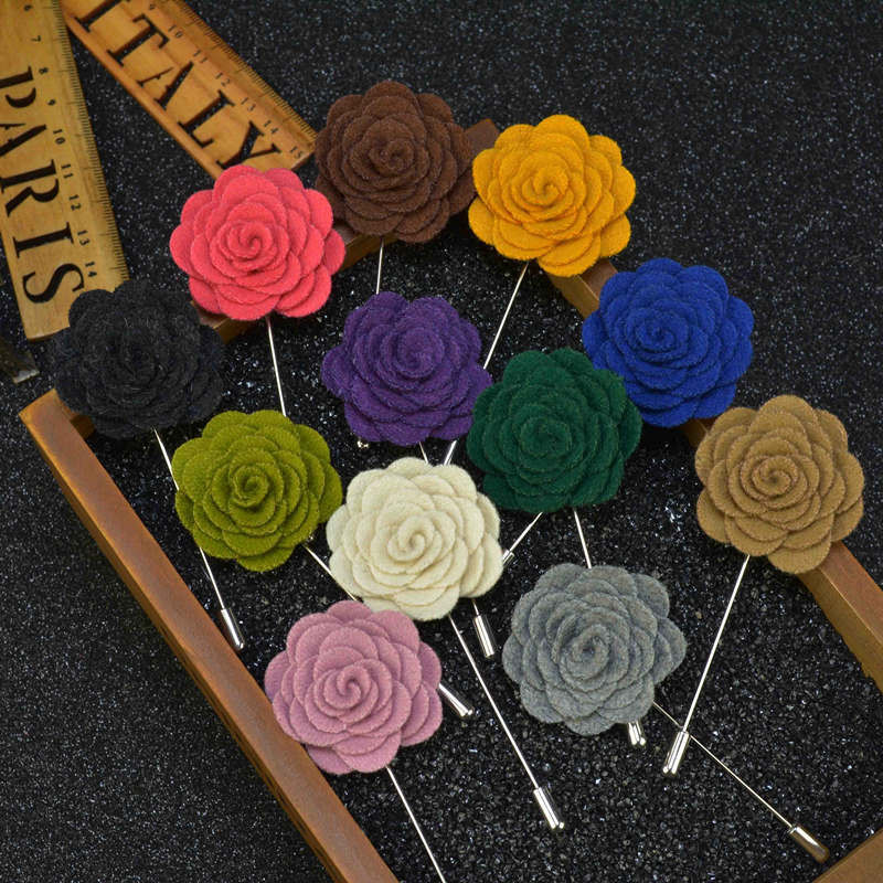 Vintage Chic Handmade Flower Men's Brooch Lapel Pin Suit Button Stick Brooches Wedding Party Accessories 17 Colors
