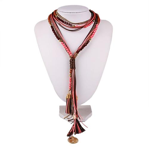 Womens Boho Ethnic Style Multi-layer Elegant Long Tassels Beads Braided Necklace
