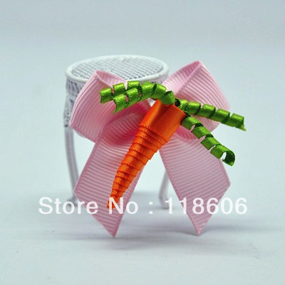 Children Baby Todder Girls Ribbon Sculpture Hair Clips Cute Carrot Hairbow Free Shipping