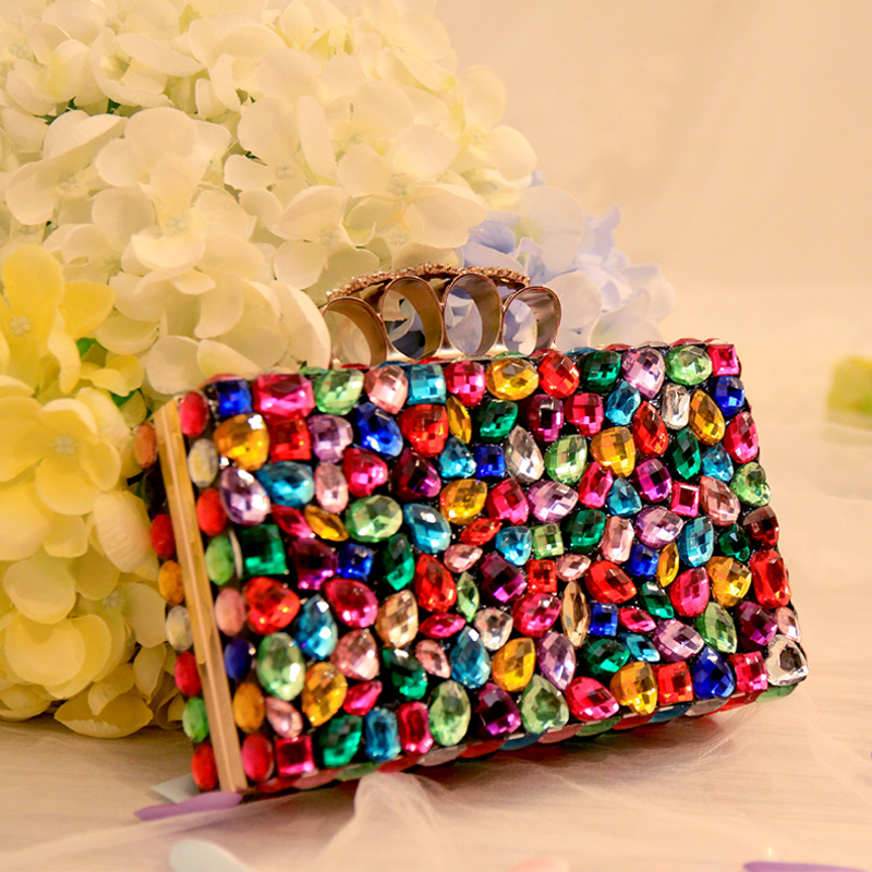 2017 mini handbag mix color chain bag messenger bag shoulder bridal evening bag day clutch rhinestone wedding purse цена