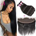 Brazilian Virgin Hair Straight With Frontal 8A Ear To Ear Ali Annabelle Lace Frontal Closure With Bundles Straight Virgin Hair