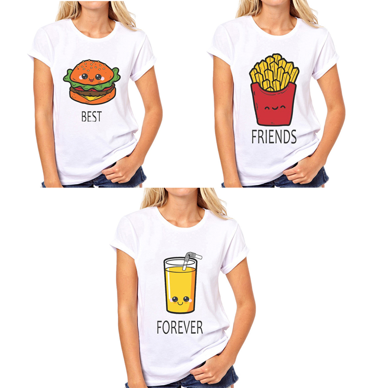 BFF Hamburger chips juice best friends 3 forever   t     shirt   women Homme Summer tops   t  -  shirt   Plus Size casual Tee