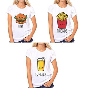 BFF Hamburger chips juice best friends 3 forever t shirt women Homme Summer tops t-shirt Plus Size casual Tee