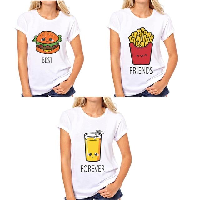 12508e8d2 BFF Hamburger chips juice best friends 3 forever t shirt women Homme Summer tops  t-shirt Plus Size casual Tee