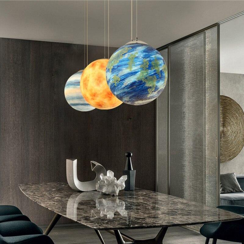 Modern creative hand painted eight planets pendant light fixture home decor living room universe resin E27 bulb pendant lamp