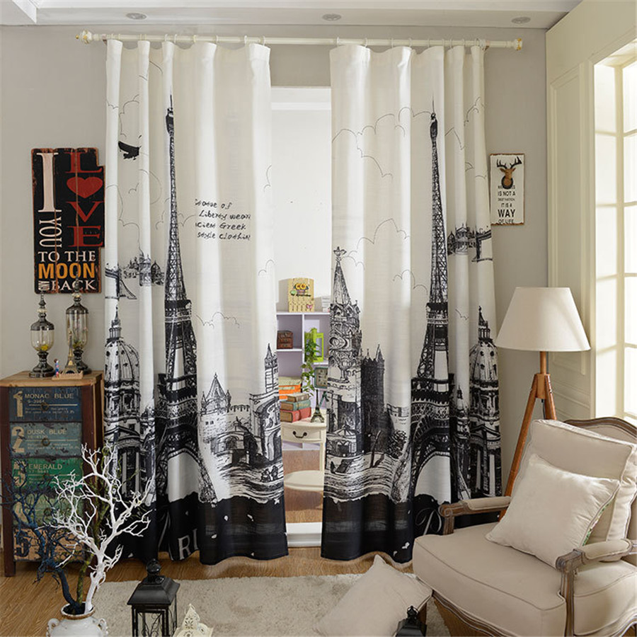 Modern Curtain Panels For Living Room Online Get Cheap Hotels In Eiffel Tower Aliexpresscom Alibaba