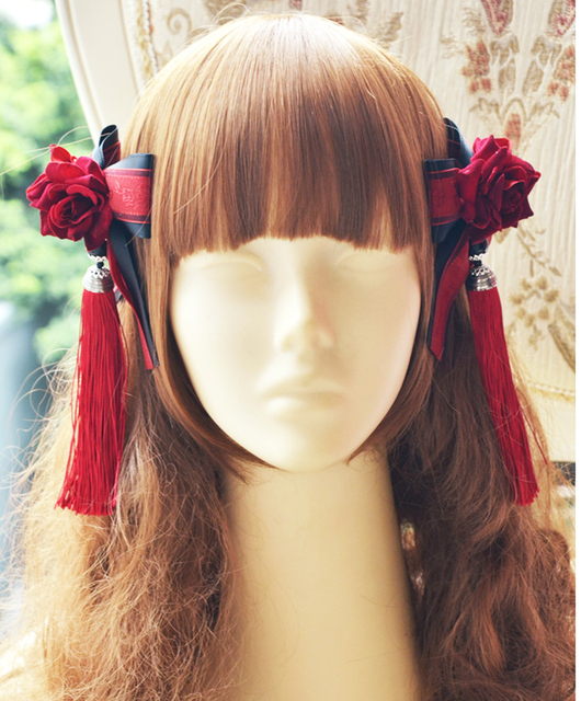 Sweet Lolita Ribbon Bowknot Hairpin Tassel Hair Clip Accessories For Women Headpiece Gothic Japanese Girl Flower Clips Fancy Dre 1