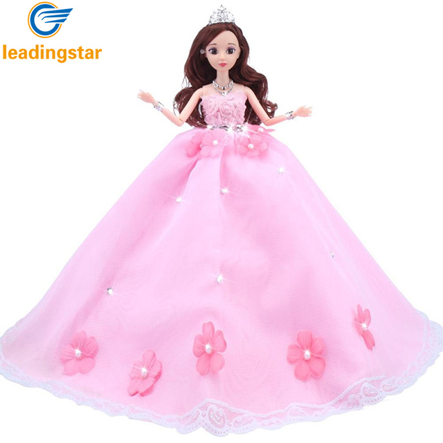 LeadingStar Gorgeous Pink Flower Pearl Wedding Dress With Veil Princess Gown Doll Clothes For Barbie