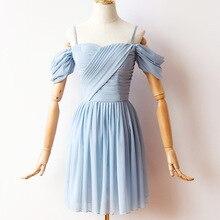 Blue Mini Dress Women Wedding Party  Bridemaid Pleat Chiffon