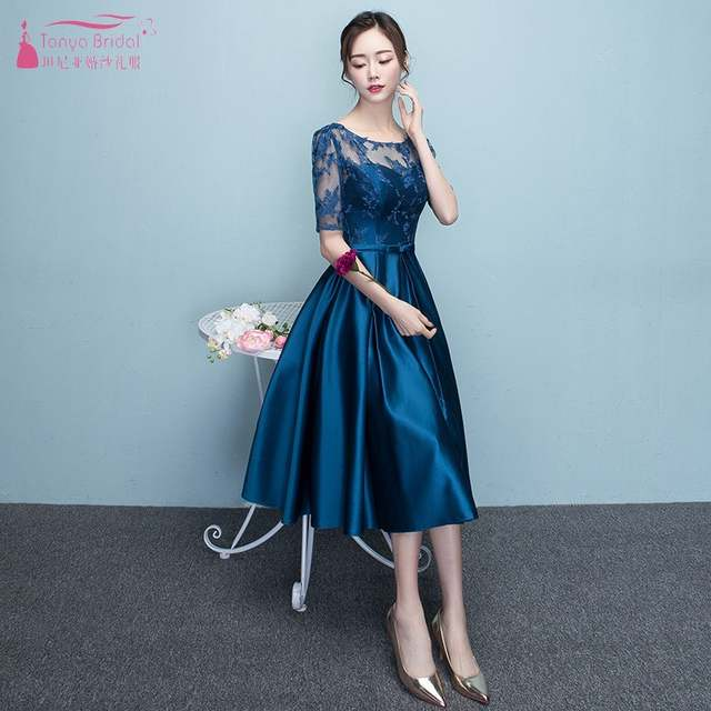 348c311b04c7a US $74.34 10% OFF|Blue Wedding Guest Dress Tea Length A Line Half Sleeve  Lace Satin Bridesaid Dresses For Wedding Party Maid Of Honor Dresses  JQ26-in ...