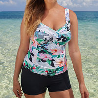 2017 Plus Size XL 2XL Swimsuit Twist Front Women Tankini Push Up Ruched Bodice Floral Print