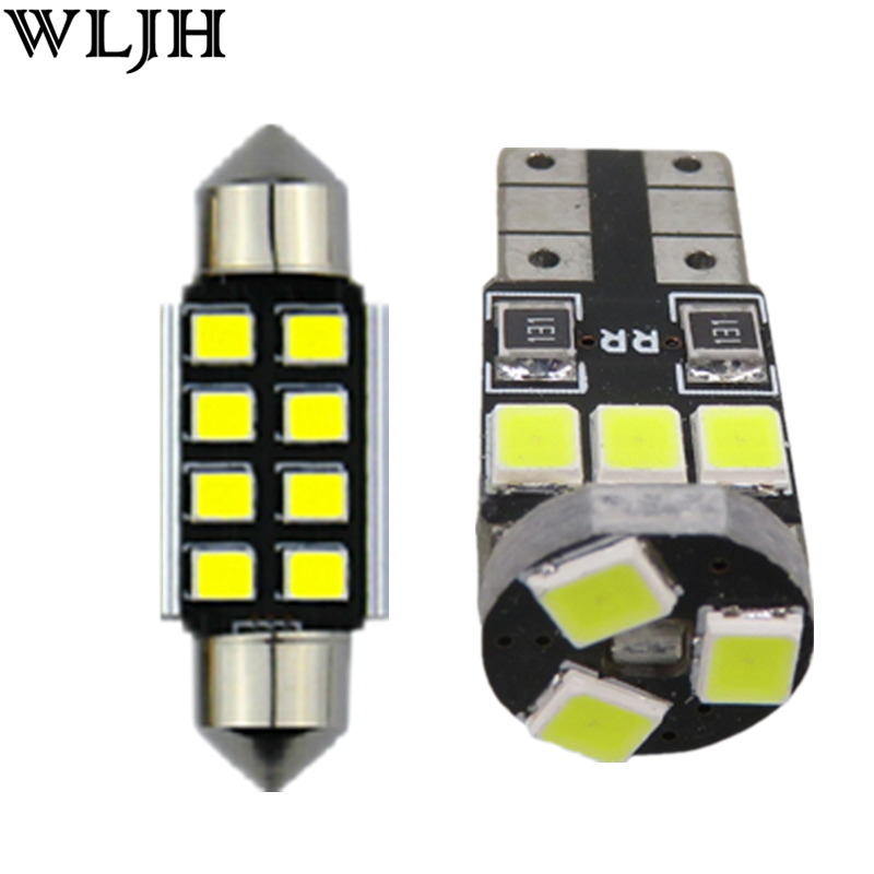 WLJH 13x Pure White Canbus W5W 36MM C5W Car Dome Light LED Interior Lighting kit For Volkswagen Passat B7 2012 2013 2014 2015 for volkswagen passat b6 b7 b8 led interior boot trunk luggage compartment light bulb