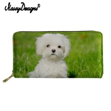 Noisydesigns Bolognese Animal Print Leather Wallet Women Long Purse Zipper Handbag Lady Clutch Girl Coin Holder Card Cute Bags