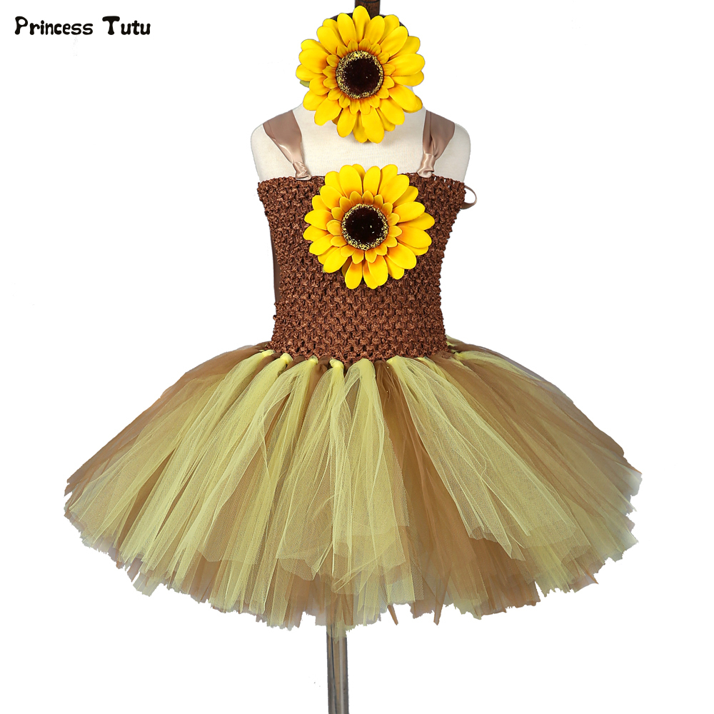 Sunflower Tutu Dress Children Girls Tulle Dress Pumpkin Halloween Costume for Kids Baby Girls Party Performance Dresses Clothes moeble 2017 baby witch costume halloween girl tutu dress kids fancy clothing for party handmade children tulle tutu dresses