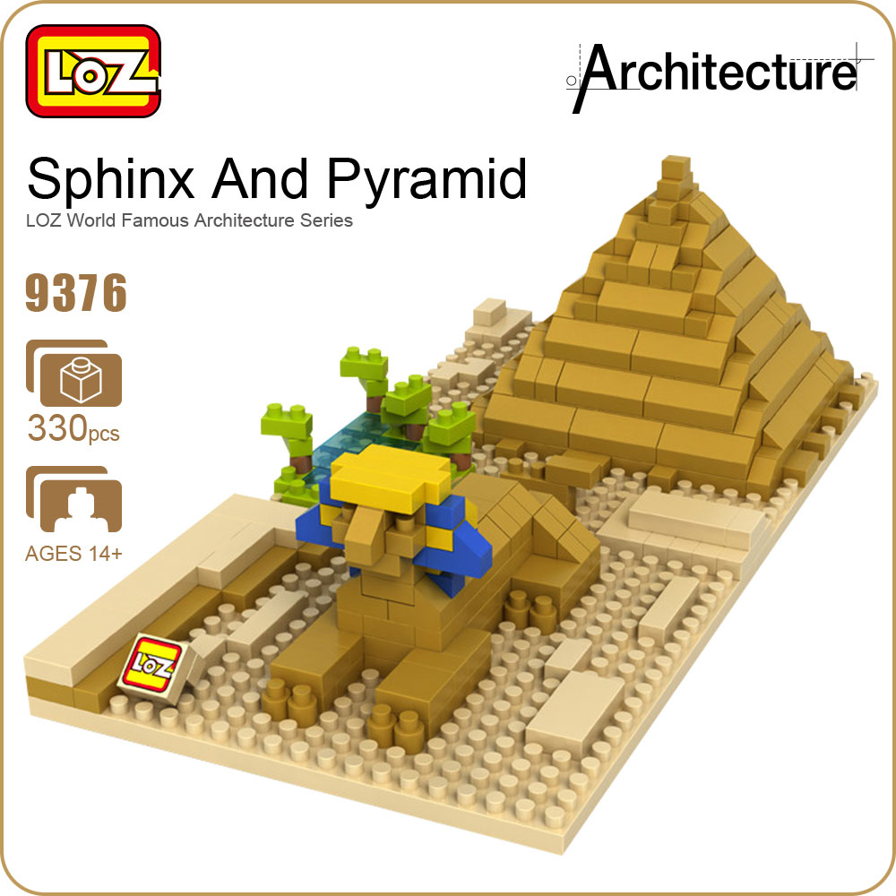 купить LOZ Diamond Blocks Egyptian Pyramid Model Sphinx and Pyramid LOZ World Famous Architecture Series Toys Children Buildings 9376 по цене 569.95 рублей