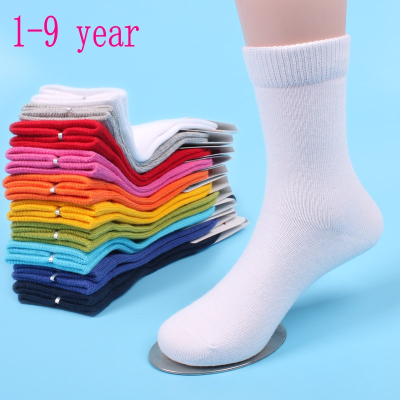 20 Pieces=10 Pairs Children Socks Spring&Autumn Cotton Baby Girls Socks With Boys Socks Solid Color 1-9 Year Kids Socks